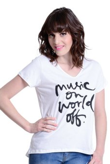 NEXT 92-062 Music On World Off V-Neck Tee (White) Price Philippines