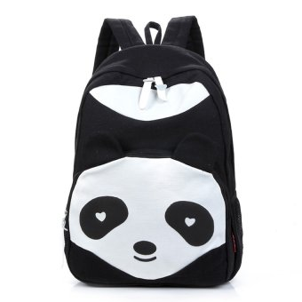 niceEshop Casual Canvas Panda Shape School Bags Travelling Backpack,Black Price Philippines