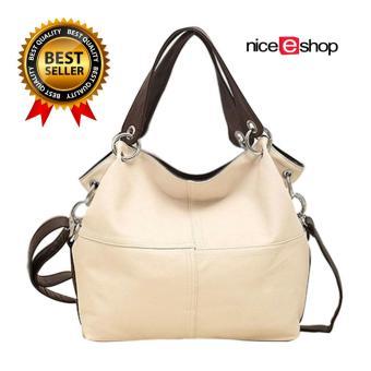 niceEshop Fashion Retro Style PU Leather Messenger Bag Tote Bag for Women, Creamy White