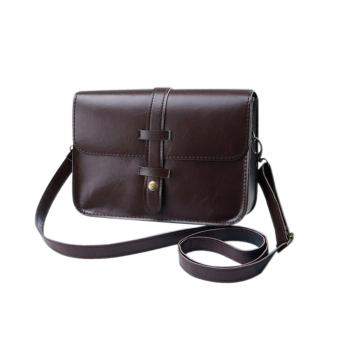 niceEshop Women Fashion PU Leather Messenger Bag Shoulder Bag (DarkBrown)(International)