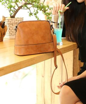 ... niceEshop Women Vintage Frosted PU Leather Messenger Bag, Light Brown - 4