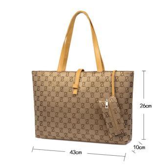 niceEshop Womens Nylon Tote Bag Shoulder Handbag With Zipper For Shopping, Khaki - 2