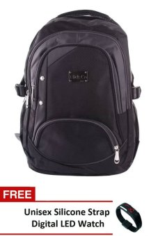 Nick Co 1189 Backpack (Black) With FREE Unisex Silicone StrapDigital LED Watch