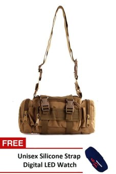 NICK Men's 182 Military Messenger Bag (Khaki) With FREE Unisex Silicone Strap Digital LED Watch