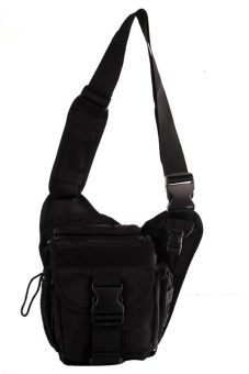 NICK Mens Boys 222 Plain Military Messenger Bag (Black)
