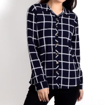 No Apologies Checkered Rayon L/S Polo Nft04-0307 (N.Blue)