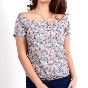 No Apologies Printed Rayon Off Shoulder Blouse Nlt04-1764 (Gray)