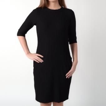 No Apologies Quarter Sleeve Dress NLT08-0118 (Black)