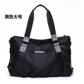 Nuobaili canvas New style waterproof nylon messenger bag handbag (Black large)