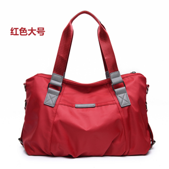 Nuobaili canvas New style waterproof nylon messenger bag handbag (Red large)
