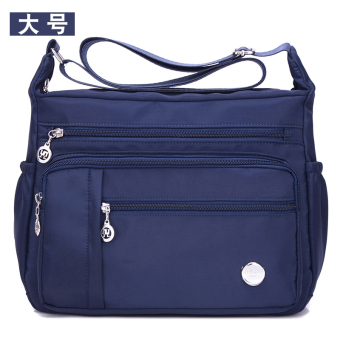 Nuobaili Stylish women's canvas bag waterproof nylon bag (Dark blue large)