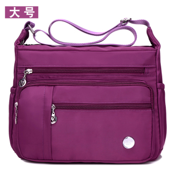 Nuobaili Stylish women's canvas bag waterproof nylon bag (Purple large)