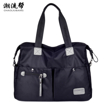 Nylon waterproof Oxford Cloth Bag New style women's bag (Large black) (Large black)