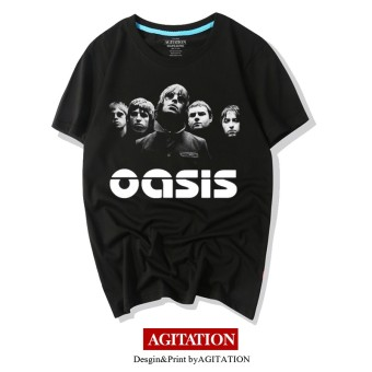 Oasis rock cotton round neck Short sleeve T-shirt (3 black)