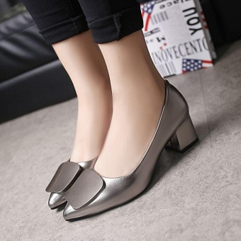 Ocean Fashion Women Pumps Heel Shallow mouth Mid heel Single shoesleather shoes Pointed Toe Chunky Pumps Heel(Grey) - intl