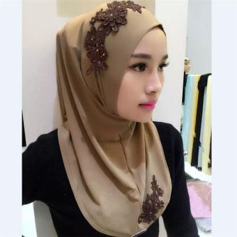 Ocean New Fashion Women Muslim Wear Hijabs Turban Lace EmbroideryFlower Scarf Hui Folk style Hijabs(Brown) - intl