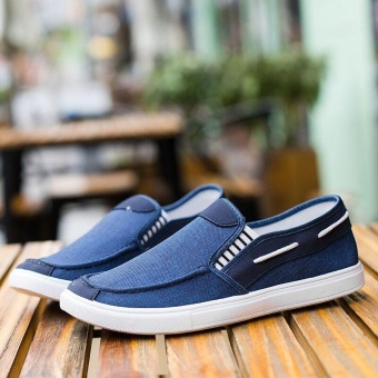 Ocean New Men Fashion Slip On Casual Canvas Sneakers Breathe Shoes(Blue) - intl - 4