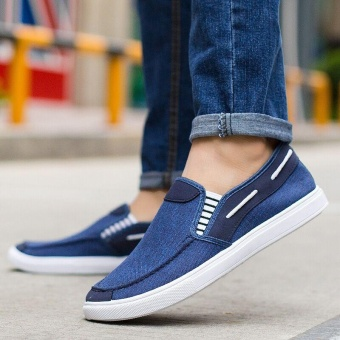 Ocean New Men Fashion Slip On Casual Canvas Sneakers Breathe Shoes(Blue) - intl