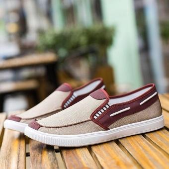 Ocean New Men Fashion Slip On Casual Canvas Sneakers Breathe Shoes(Khaki) - intl - 5