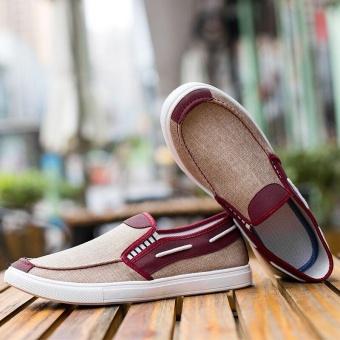 Ocean New Men Fashion Slip On Casual Canvas Sneakers Breathe Shoes(Khaki) - intl - 4