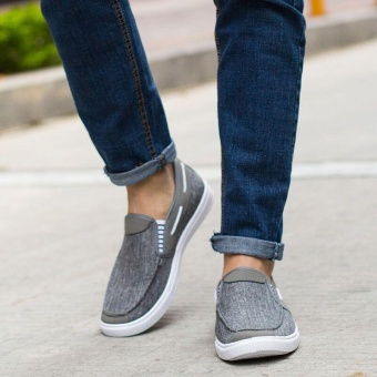 Ocean New Men Fashion Slip On Casual Canvas Sneakers BreatheShoes(Grey) - intl - 2
