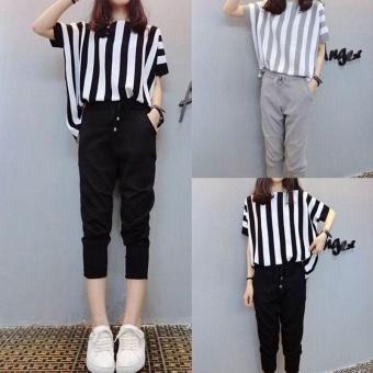 Ocean New Women Fashion Plus Size 2 Pieces Stripe Loose Show thinTops+Pants(Black) - intl - 2