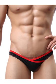 OEM 1516 Men's Underpants Briefs low waist Stripe (Black)