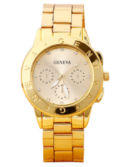 OEM Geneva Women's Gold Plated Stainless Steel Strap Watch 11016 Gold