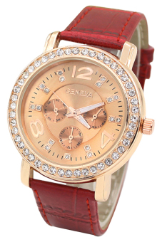OEM Geneva Women's Red Leather Strap Watch 10302 Red Price Philippines