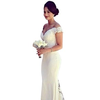 Off-Shoulder Waisted Wedding Dress - intl