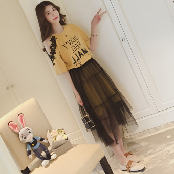 Off-the-shoulder printed short sleeved dress (Yellow)