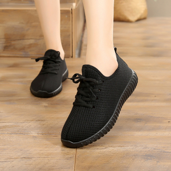 Old Beijing female flat mother shoes Shoes (Black)