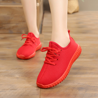 Old Beijing female flat mother shoes Shoes (Red)