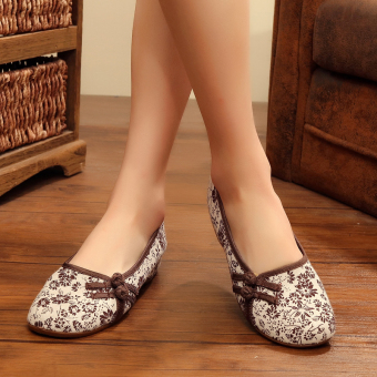 Old Beijing floral cloth New style small shoes (Coffee color)