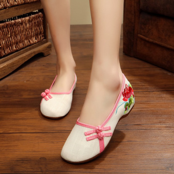 Old Beijing linen women's embroidered shoes cloth shoes (White)