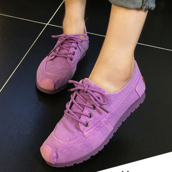 Old Beijing Spring and Autumn women's shoes denim canvas shoes (Violet)