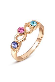 Olen 3 CZ Diamond Rings for Women (Rose Gold)