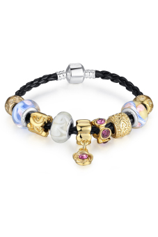 Olen 925 Silver Leather Charm Bracelets with Murano Glass Beads - Multicolor