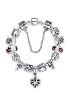 Olen Charm Bracelet with Murano Glass Beads Silver