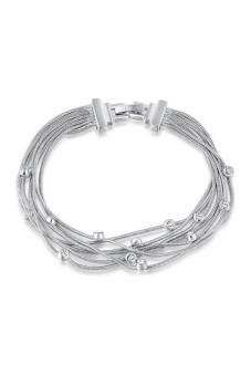 Olen Layers Line with White Diamond Bracelet White