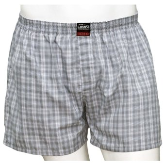 Omni By SO-EN Men's Checkered Boxer Short (Gray White)