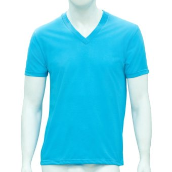 Omni By SO-EN Men's V-Neck T-Shirt (Aqua Blue)