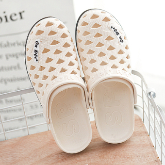 On dot porous home for men and women sandals rubber slippers (Off-white color)