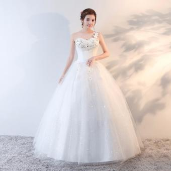 One-Shoulder Women's Long Bridal Dress Leondo Lace Beaded Sleeveless Wedding Gowns - intl