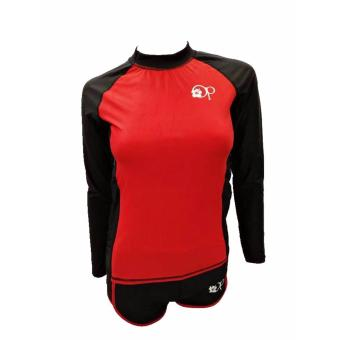 OP FB120 women red long sleeves rash guard set swimwear