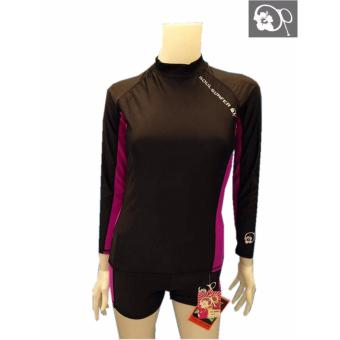 OP JR1601A women fashion purple long sleeves rash guard set swimwear