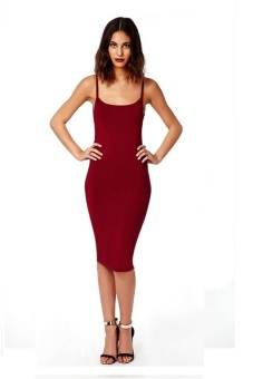 Open Back Midi Dress (Red)