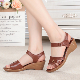 Open toed female cool leather shoes women's sandals (Brown-Full Leather)