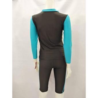OPJR1602 women fashion light blue long sleeves rash guard set with black short cycling swimwear - 5