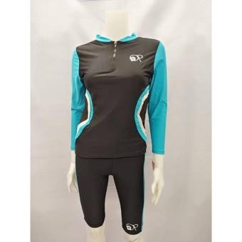 OPJR1602 women fashion light blue long sleeves rash guard set with black short cycling swimwear - 2